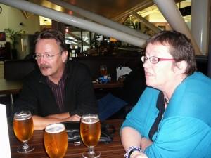 374 LudzNL and ModifiedDog have their last British beer at Bristol Airport