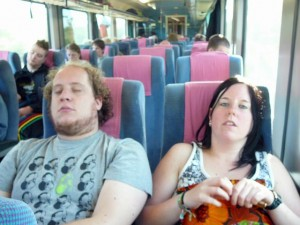 005 Billy and Ethell in the train to Osnabruck