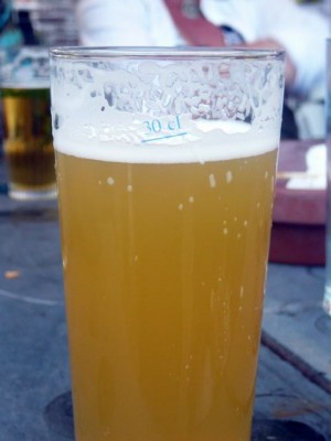bazbo's beer - watch the little blue horizontal line in the froth ...