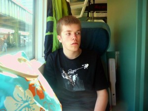 04 Luuk in the train from Duisburg to Bochum