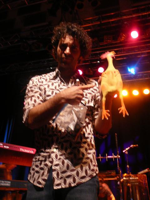 Dweezil and the signed rubber chicken