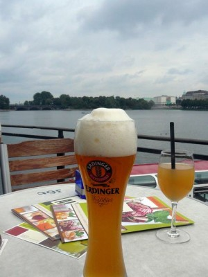 015 enjoying Erdinger at the Binnenalster in Hamburg