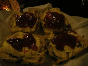 219 unicrayons scones with cotton cream and strawberry jam