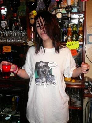 246 bar maid with familiar shirt