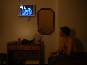 290 en tv in de hotelkamer