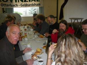 87 breakfast - Pedro on the left, Erwin, Wan & Georg's DDR friend