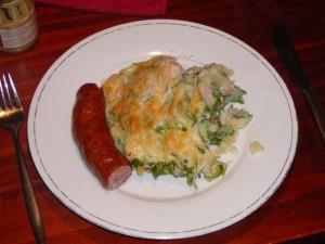 Stamppot andijvie met spek en kaas ... en een groffe verse rookworst - Saturday, November 6, 2010