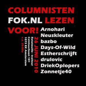 Flyer FOK!columnistenvoorleesvoorstelling 26 juni 2010