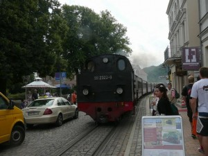 041 steam engine Molli in the streets of Bad Doberan