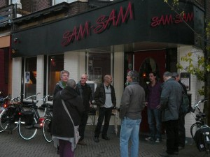 Meeting with the bands outside the venue