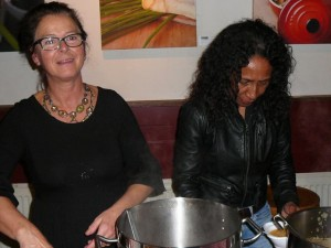 Anja & friend serve pumpkin soup