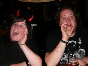 Ethell & Billy (drinks but forgets to hold his glass)