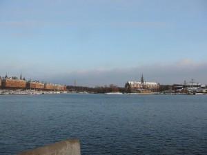 157 view on Strandvagen and Djurgarden with Nordiska Museet and Vasa Museet