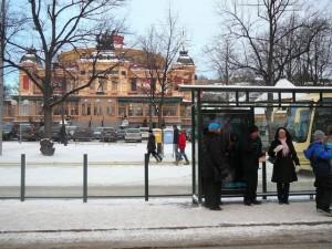 232 waiting for a tram on Djurgarden