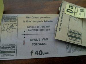 160924 455 kaarten voor Yes - 23 juni 1991 Ahoy Rotterdam